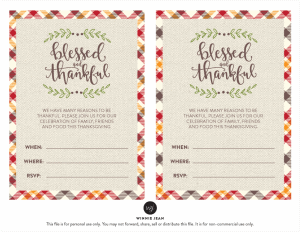 Fun and festive Thanksgiving Printable Party Set by Winnie Jean, plus a freebie!