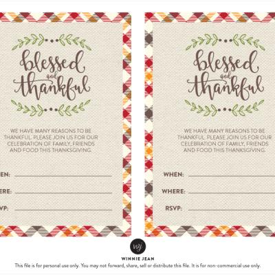 Fun and festive Thanksgiving Printable Party Set by Winnie Jean, plus a freebie!