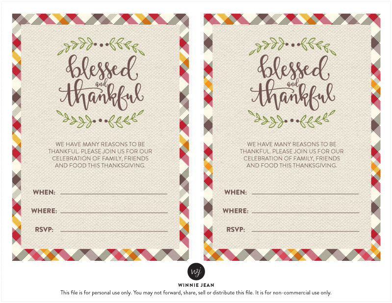 FREE, fun and festive Thanksgiving Printable Invitation!