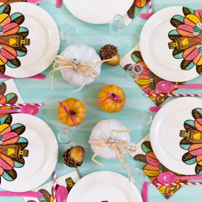 Bright and Colorful Kids Thanksgiving Table, Pizzazzerie.com
