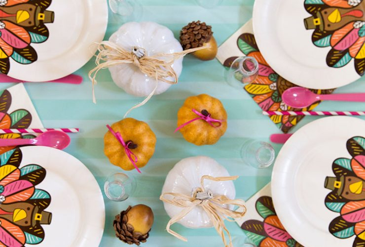 Bright + Colorful Thanksgiving Kids Table!