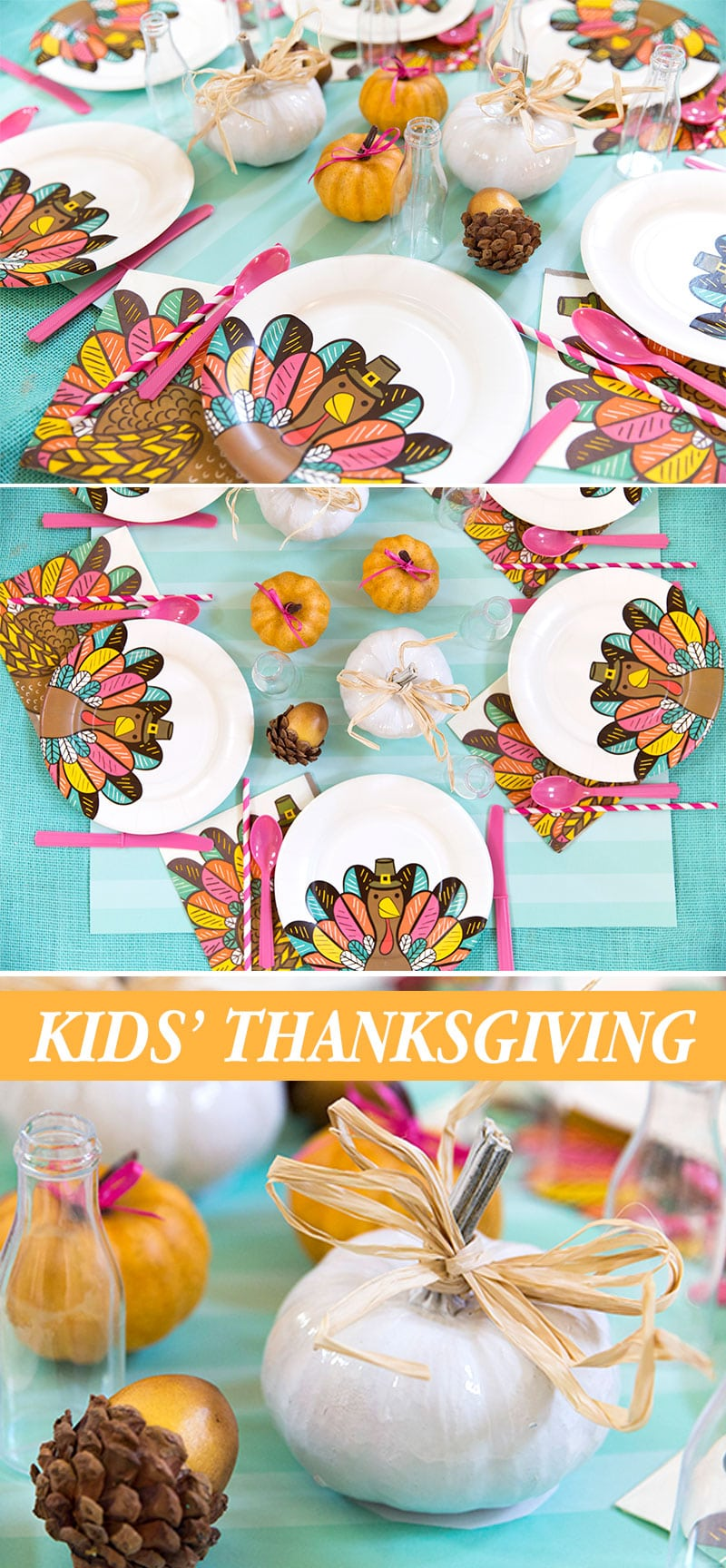 Bright and colorful Thanksgiving Kids Table, Pizzazzerie.com!