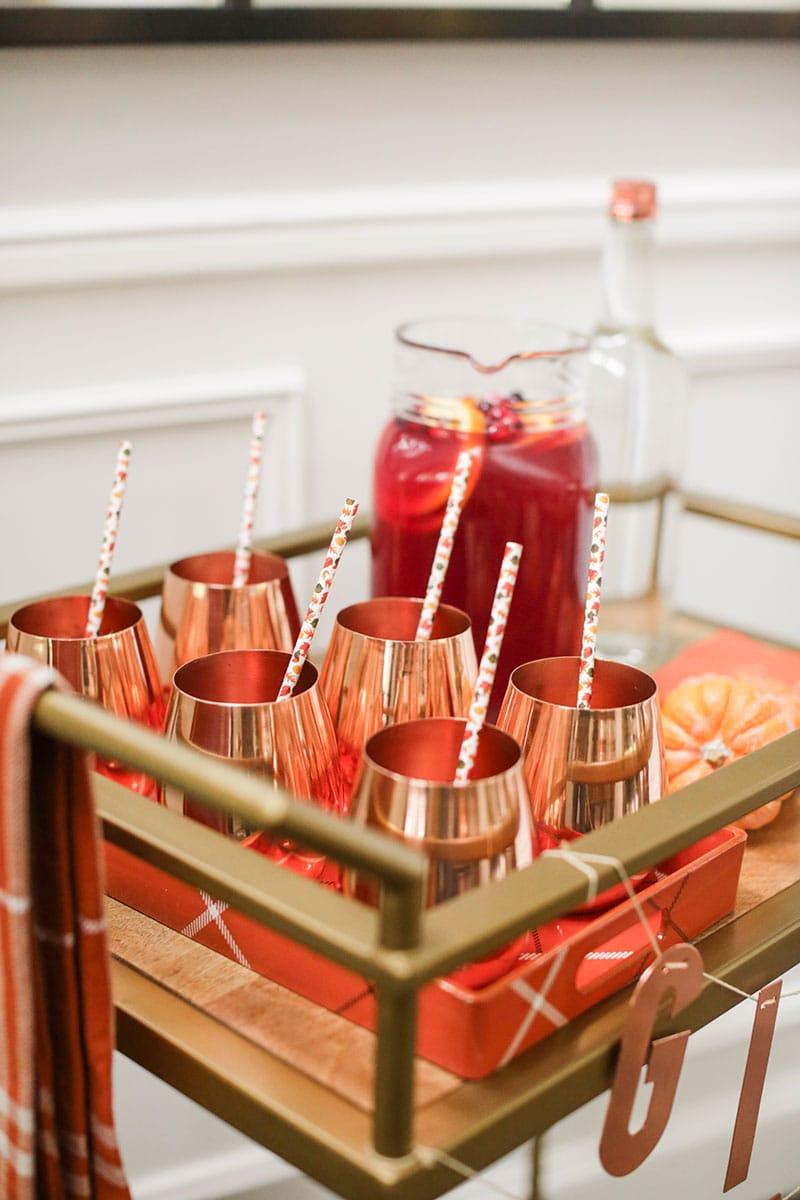 Copper Mugs on Bar Cart!
