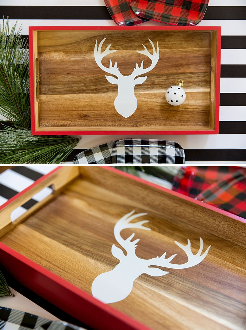 DIY Deer Head Silhouette - Holiday Tray! Pizzazzerie.com
