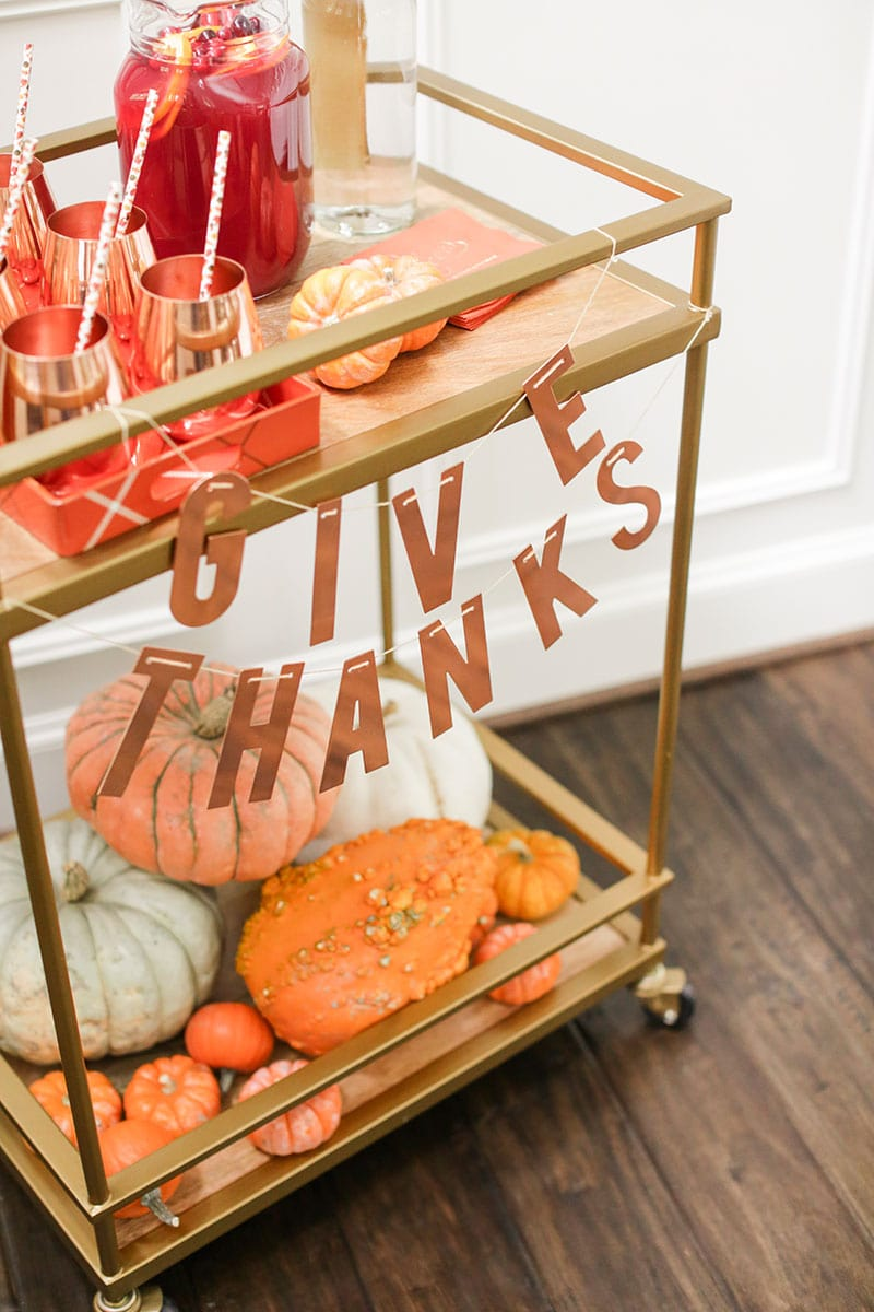 Give thanks fall bar cart styling!