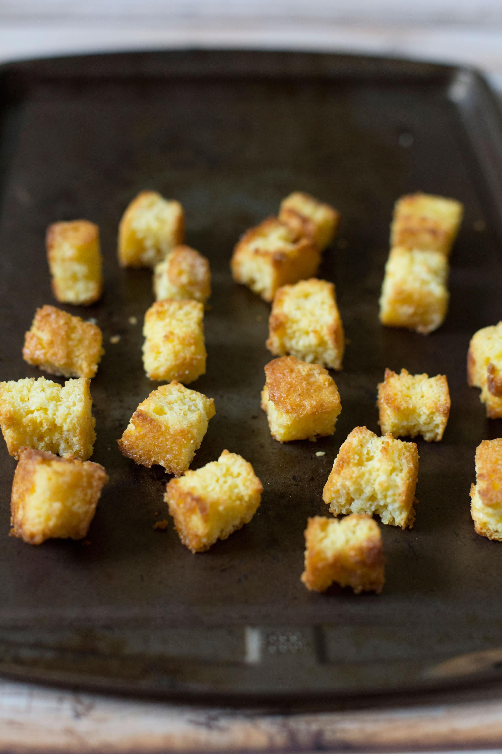 Homemade Cornbread Croutons, I'll never buy store-bought croutons again!