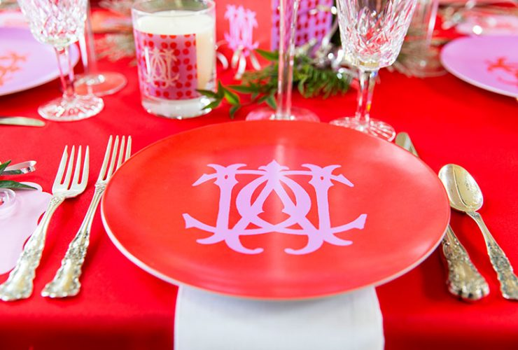 Pink & Red Monogram Christmas Tablescape