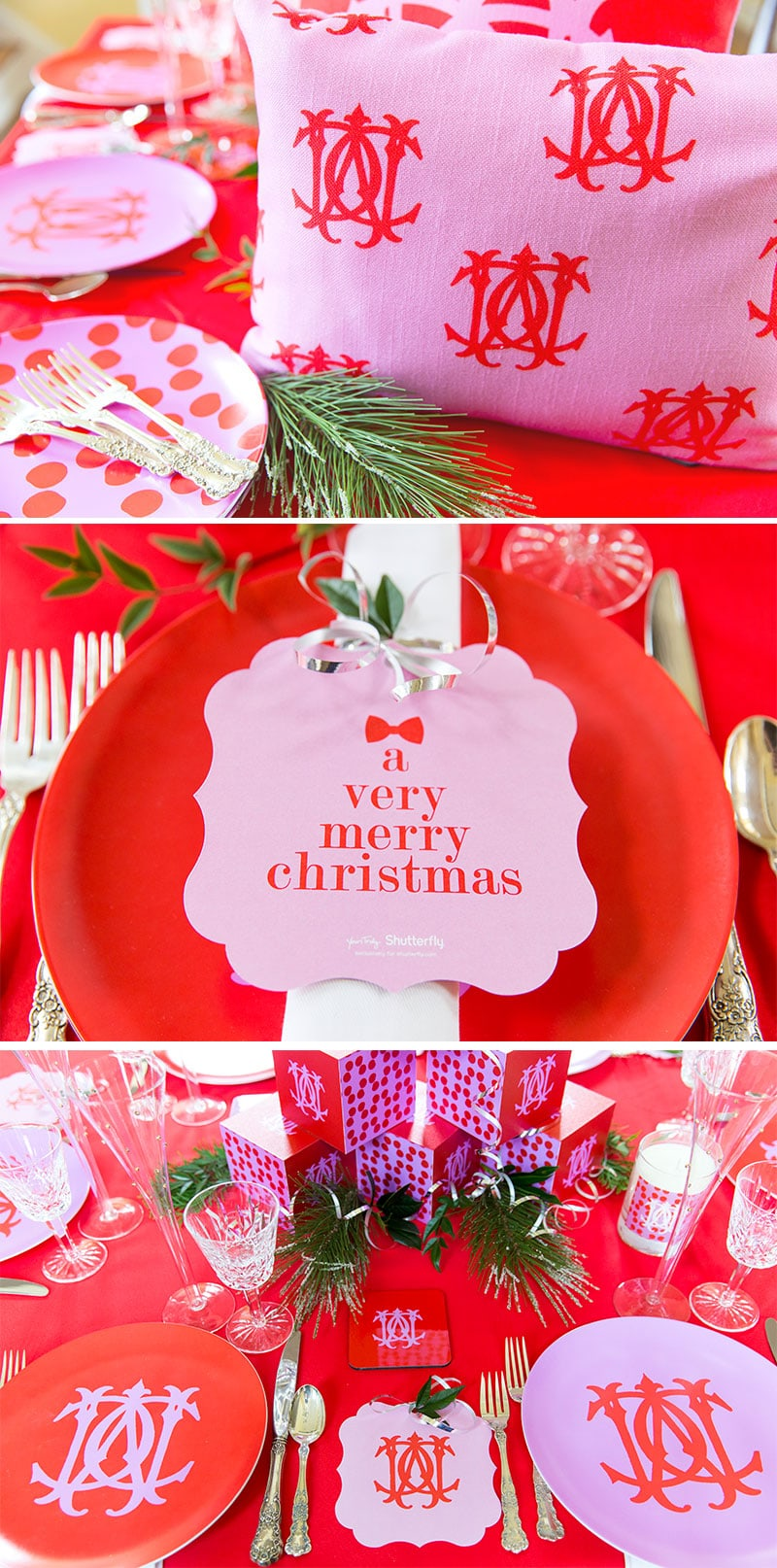 pink  u0026 red monogram christmas tablescape