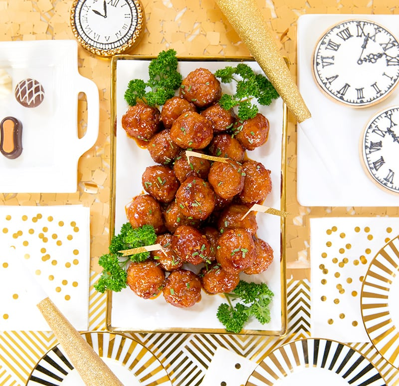 Party appetizer sweet n spicy meatballs pizzazzerie new years eve appetizer sweet n spicy meatballs stopboris Choice Image