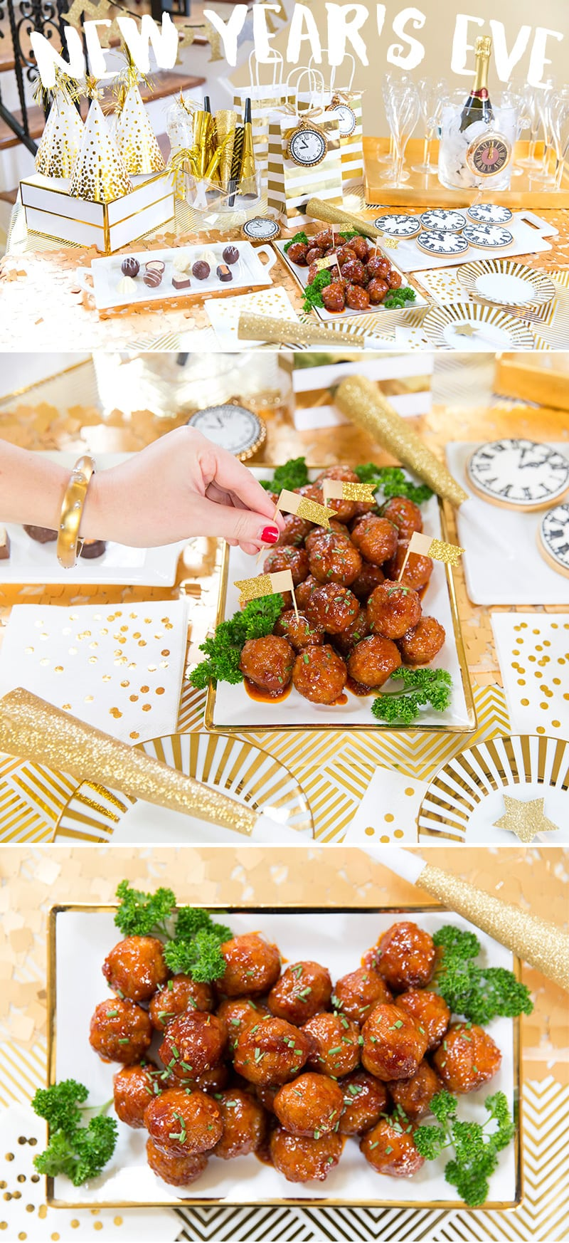 Party appetizer sweet n spicy meatballs pizzazzerie host a stylish new years eve party recipe for sweet n spicy meatballs stopboris Choice Image