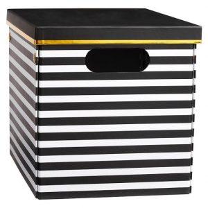 Black and White Striped Storage Box, Organize Craft Supplies