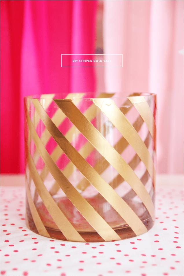 DIY Striped Painted Gold Vase