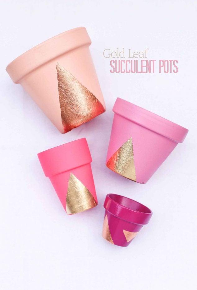 DIY Gold Leaf Succulent Spray Painted Pots!