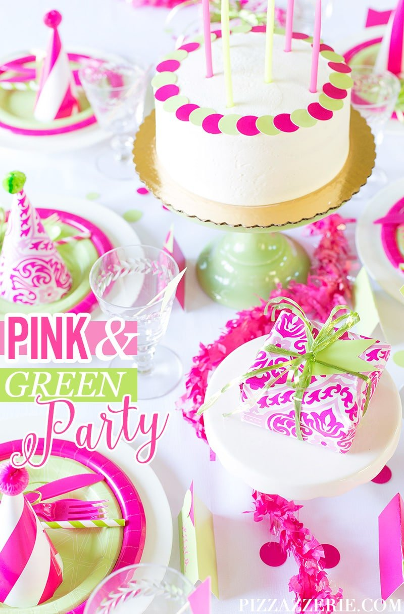 Pink Green Birthday Party Cheeky Style Pizzazzerie