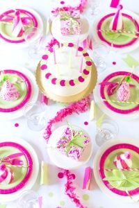 Pink and Green Birthday Party Tablescape
