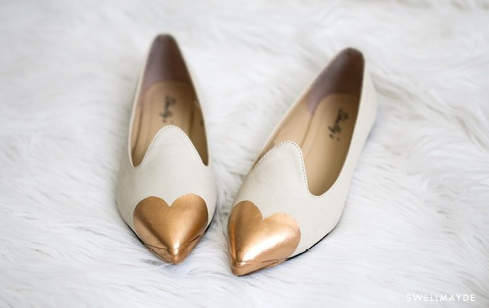 DIY Spray Paint Heart Flats