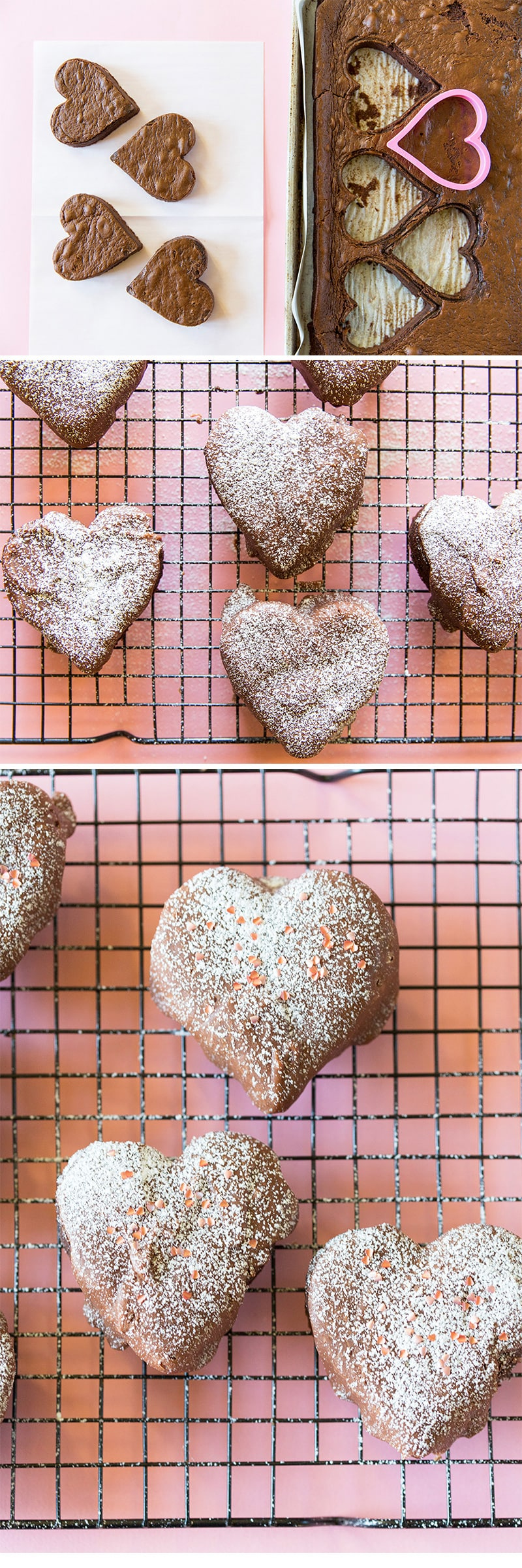 Valentine's Chocolate Fudge Heart Cakes
