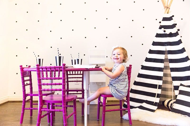 Kids Playroom Table And Chairs party playroom: diy colorful kids table | pizzazzerie