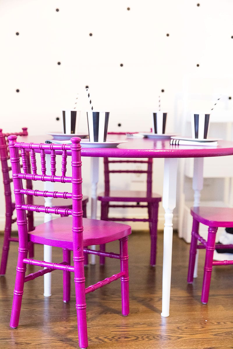 Kids Table and Chairs DIY: Add a pop of color to the playroom! Pizzazzerie.com