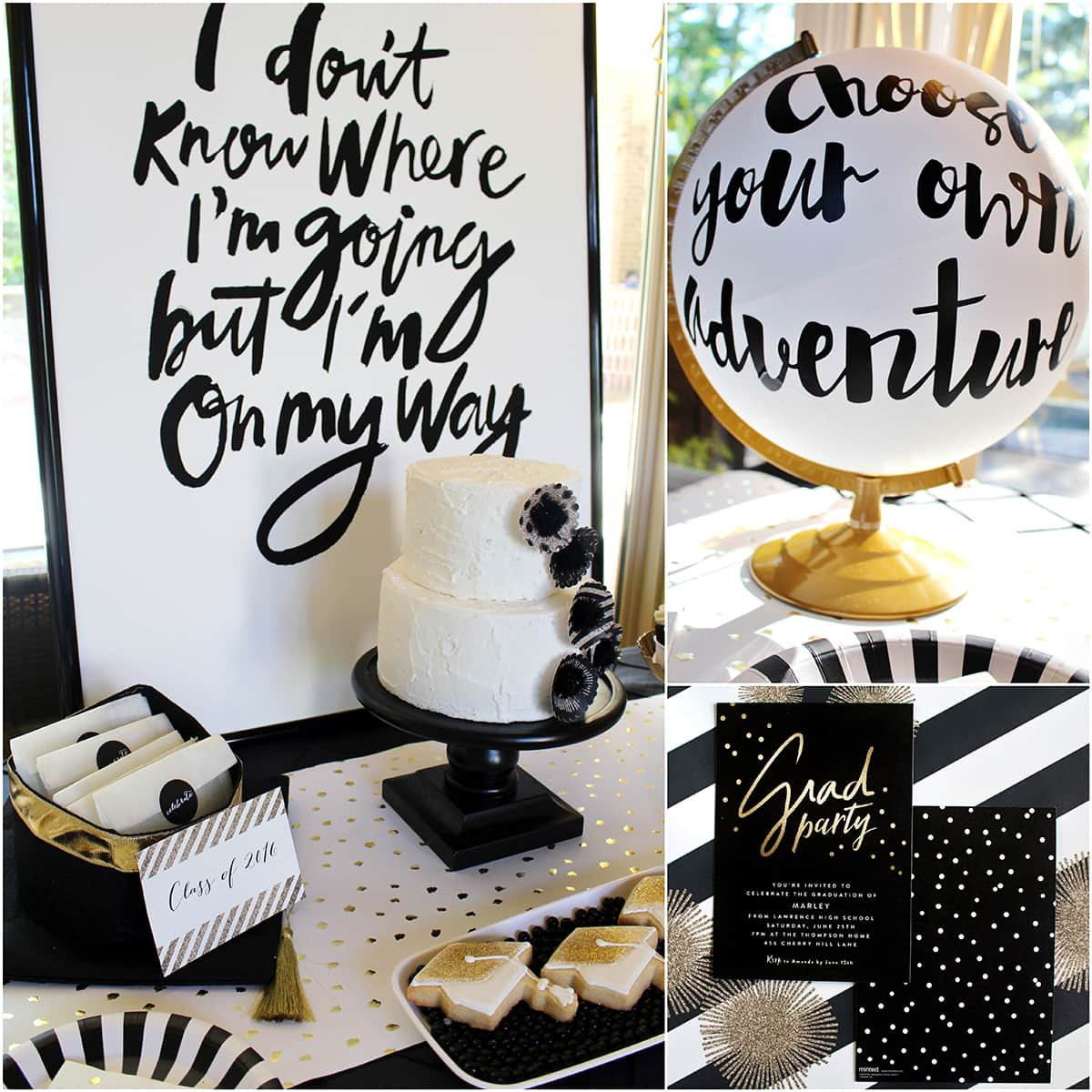 Stylish black white gold graduation party pizzazzerie