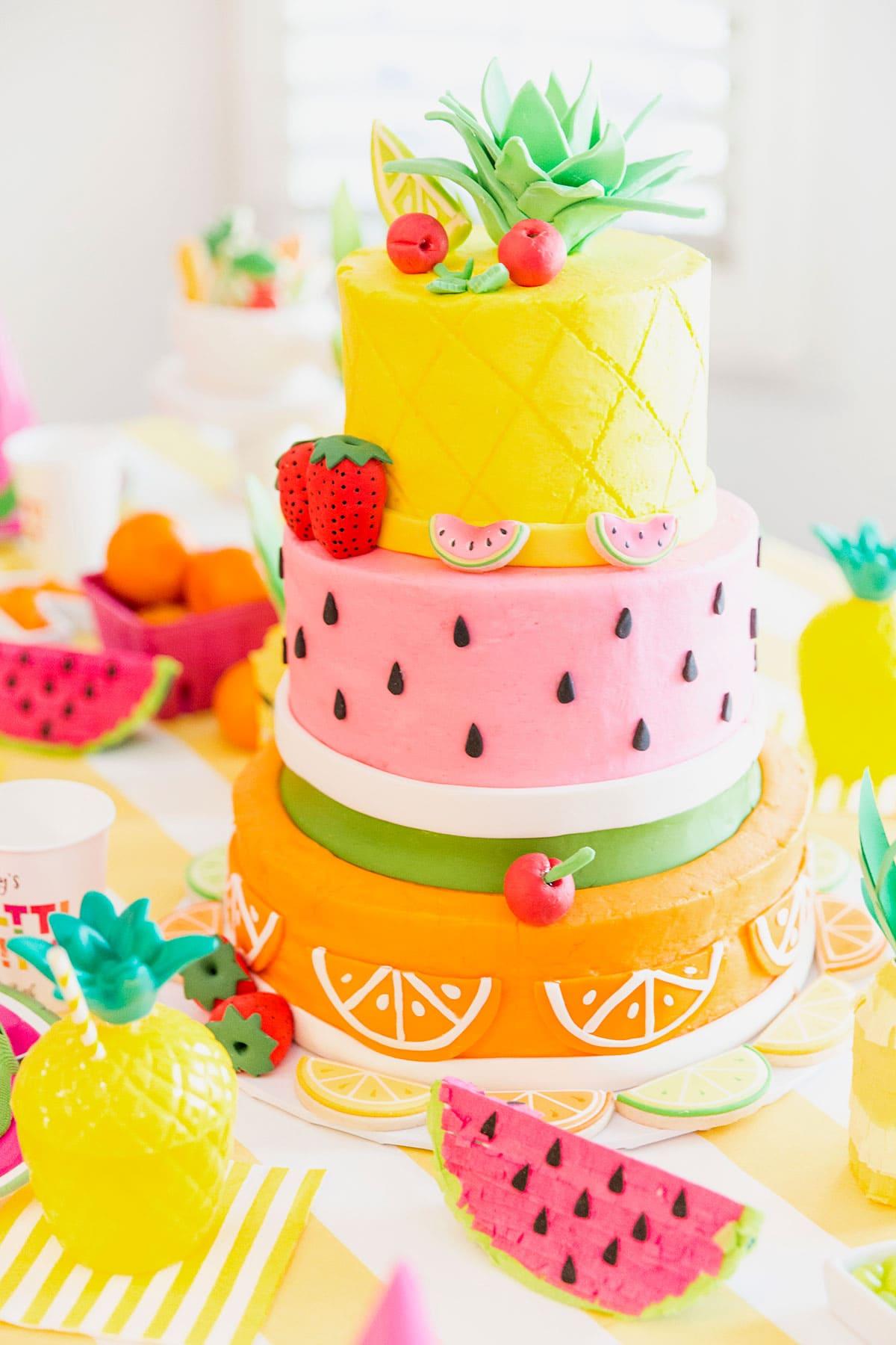 ... Birthday Cake! Pineapple, Watermelon, Orange Birthday Party Cake