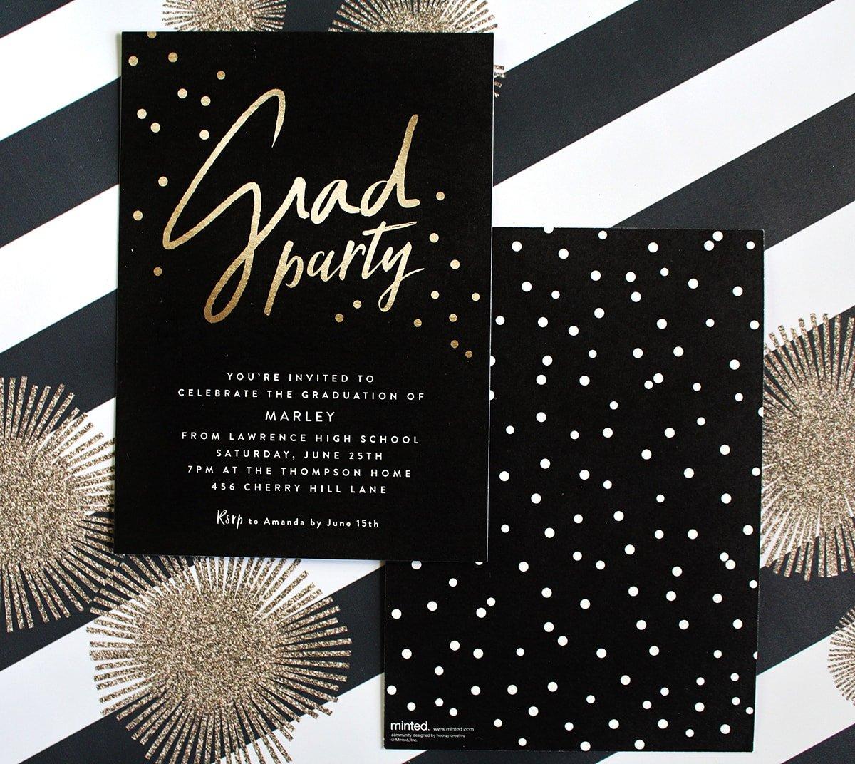 Stylish Black, White, + Gold Graduation Party!