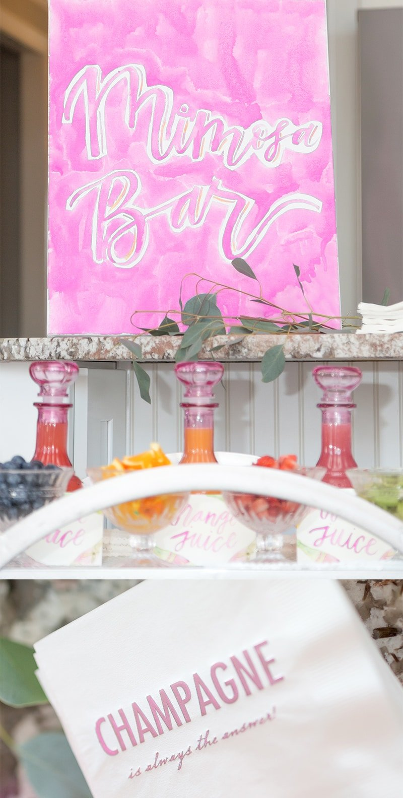 Cute Mimosa Bar at a Mother's Day Brunch Party