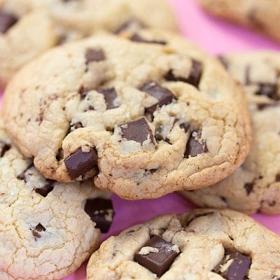 a close of up of dark chocolate chunk cookies