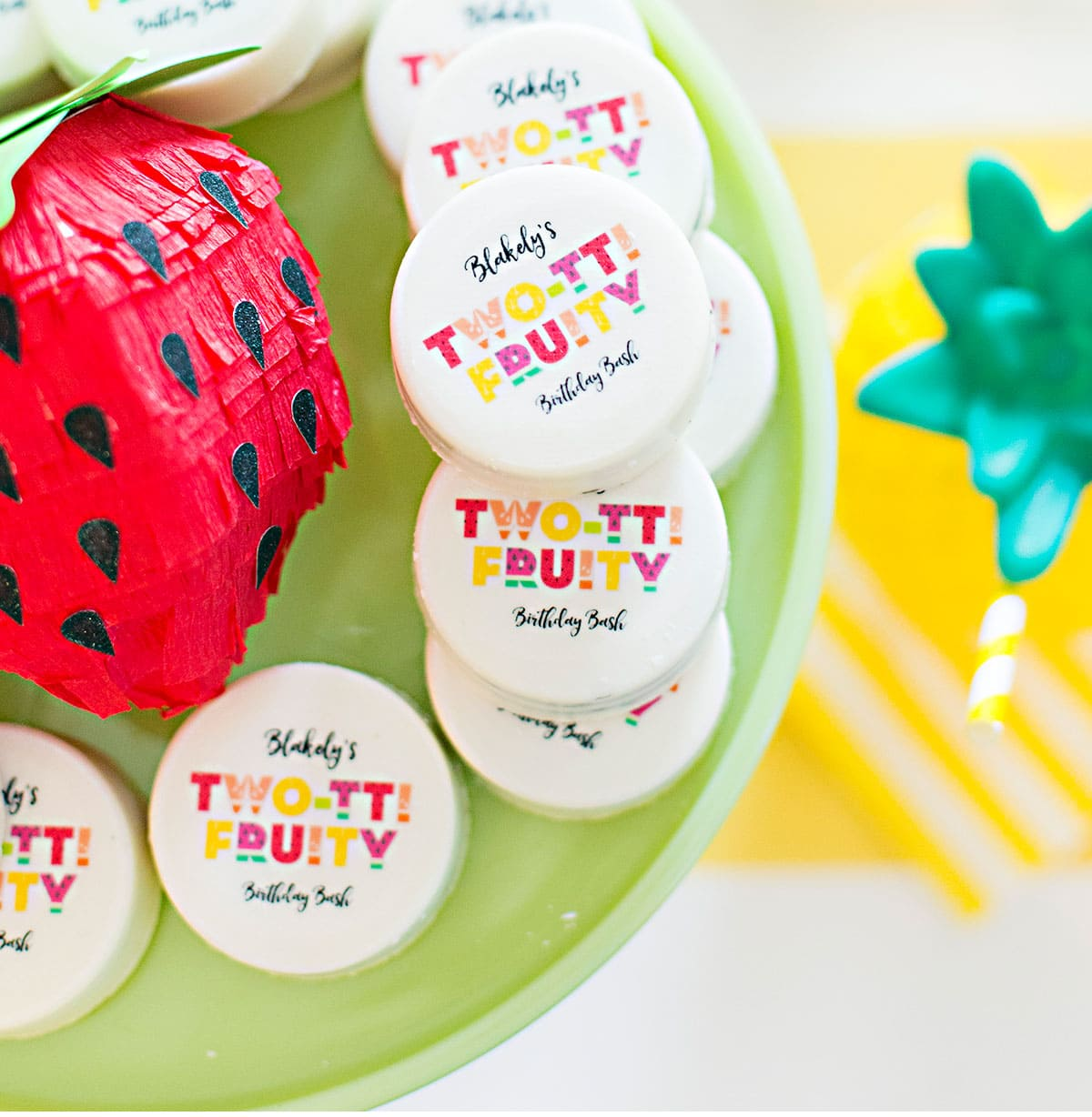 Personalized Oreos for a Two-tti Fruity Birthday Party!