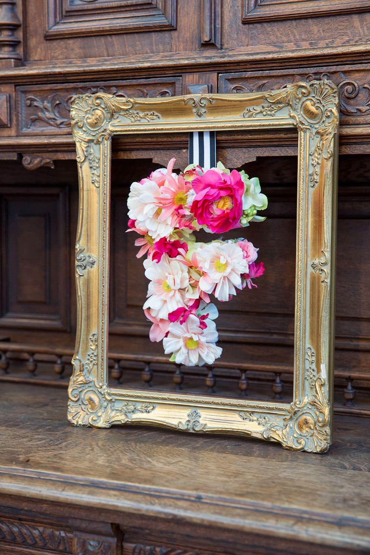 Floral Wedding Monogram Letter