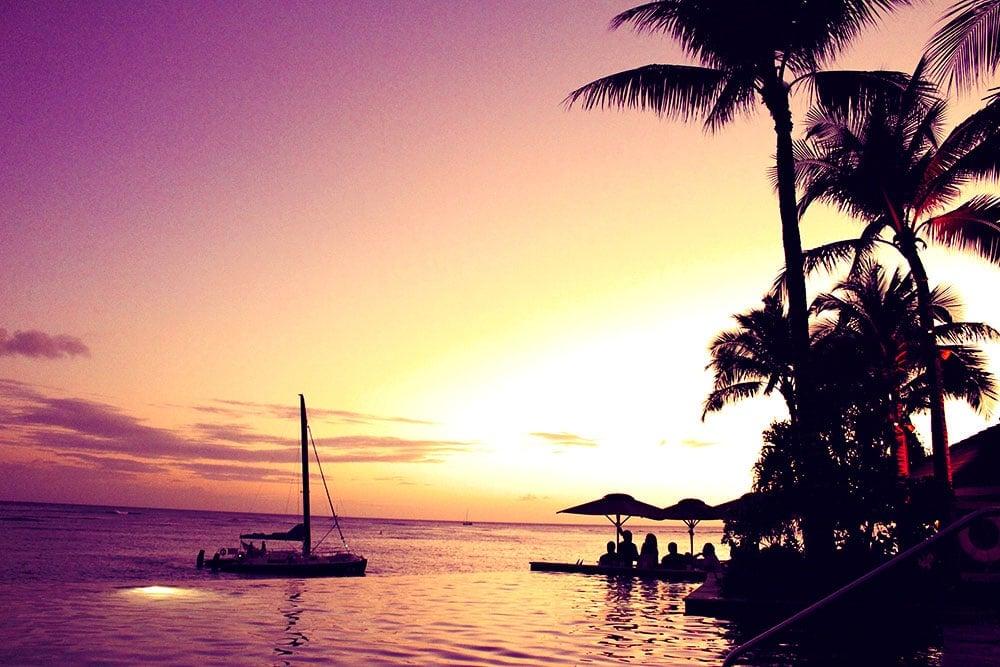 Hawaii Sunset over Waikiki Beach