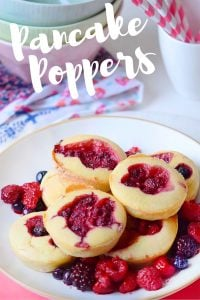 Raspberry Pancake Poppers, great brunch recipe!