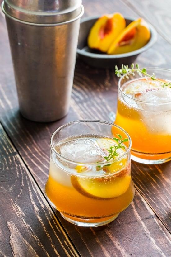 Peach Cocktails - Roasted Peach Bourbon Cocktail