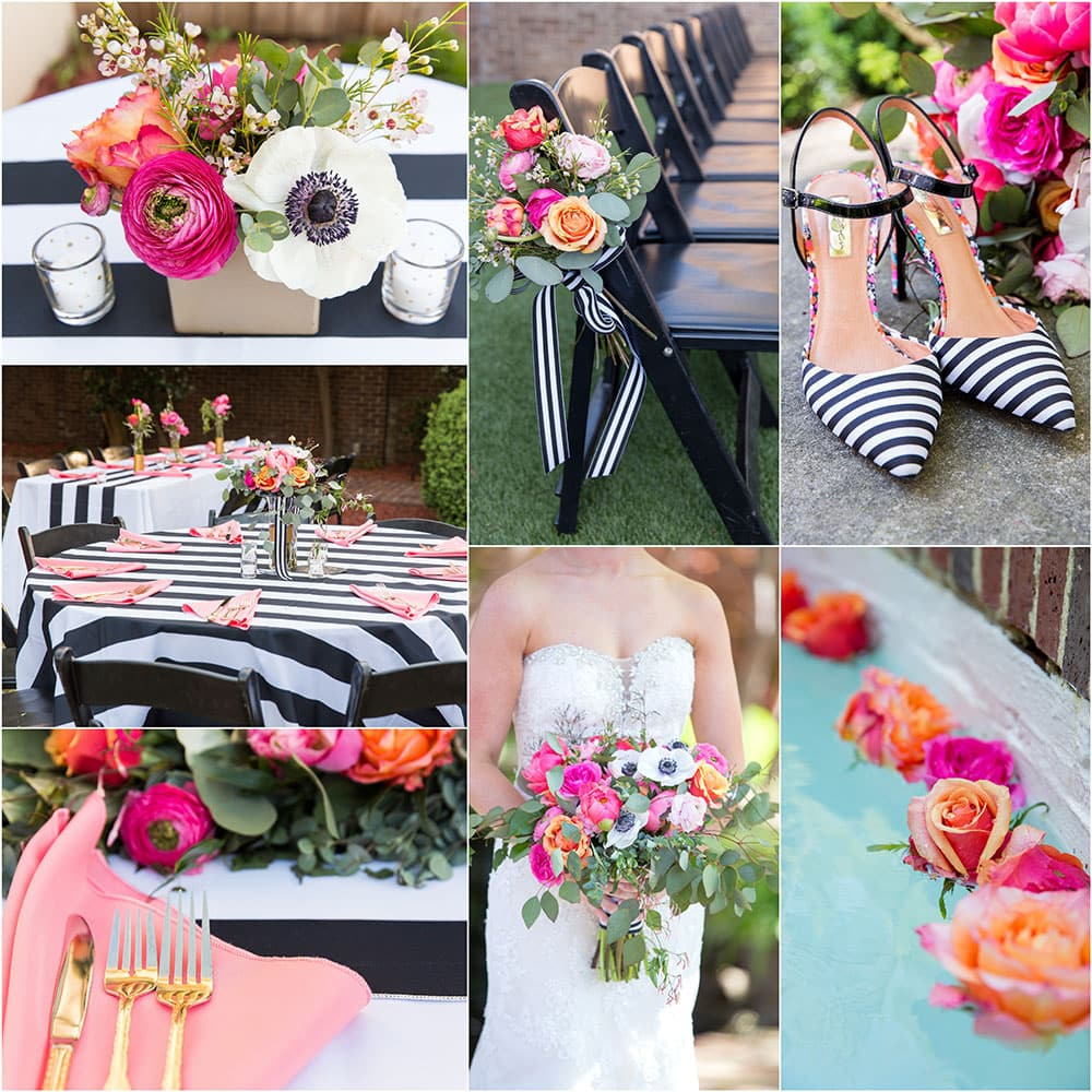 Black + White Striped Wedding with pops of pink and gold!