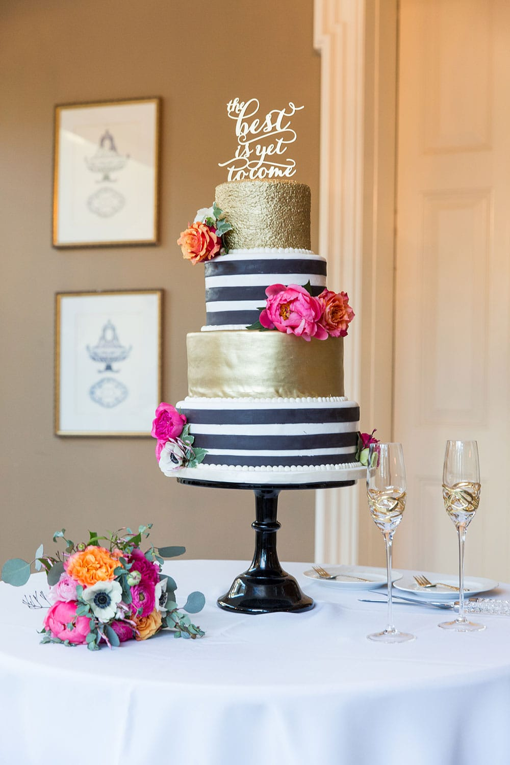 Black and White Striped Cake with GOLD! Gorgeous wedding cake!