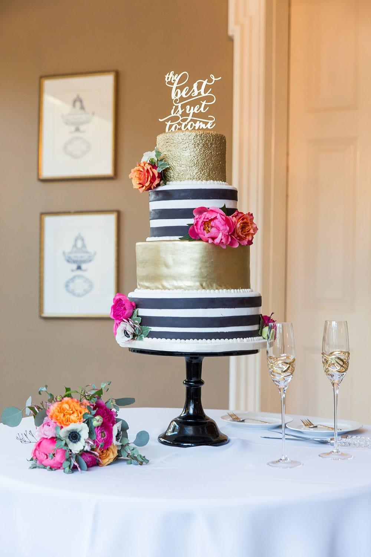 Black And White Striped Birthday Cake