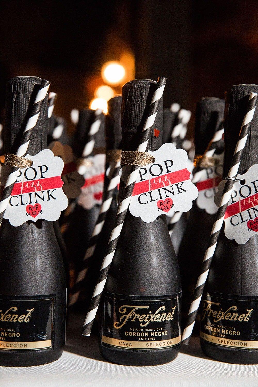 Mini Champagne Bottles at Wedding