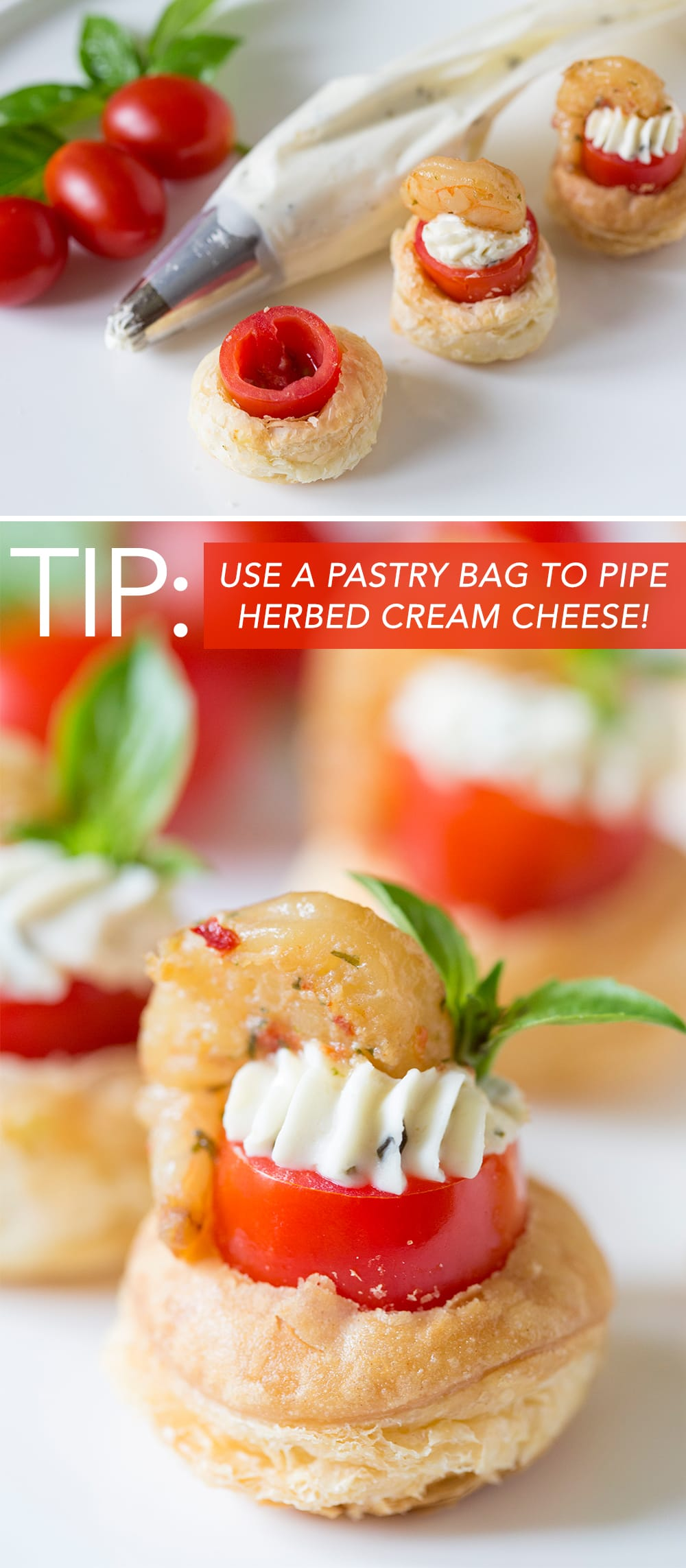 Party Tip: Use a pastry bag to pipe creamed cheese into pastry tartlet!