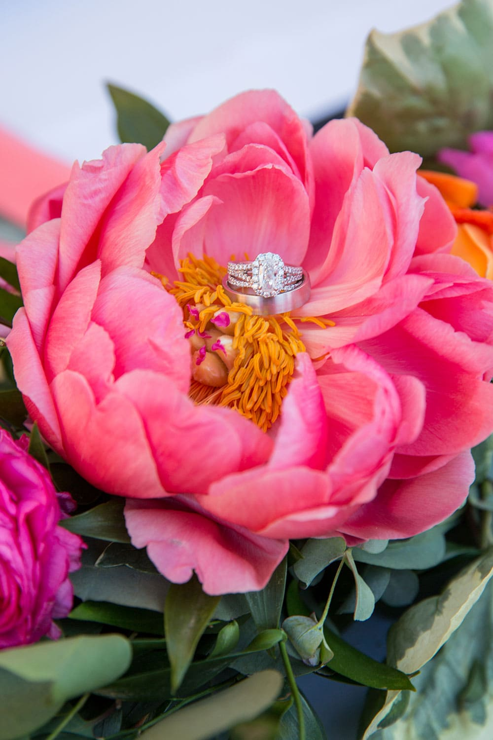 Wedding ring in pink peony!