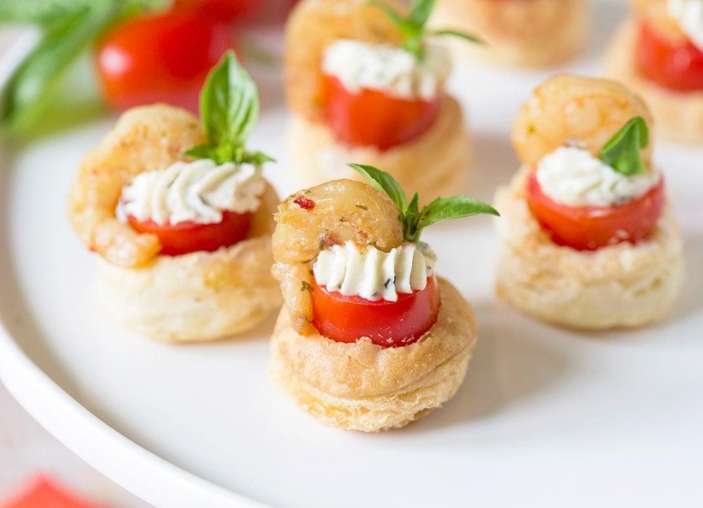Party appetizer shrimp tomato pastry tartlets for Appetizer recipes easy party appetizers