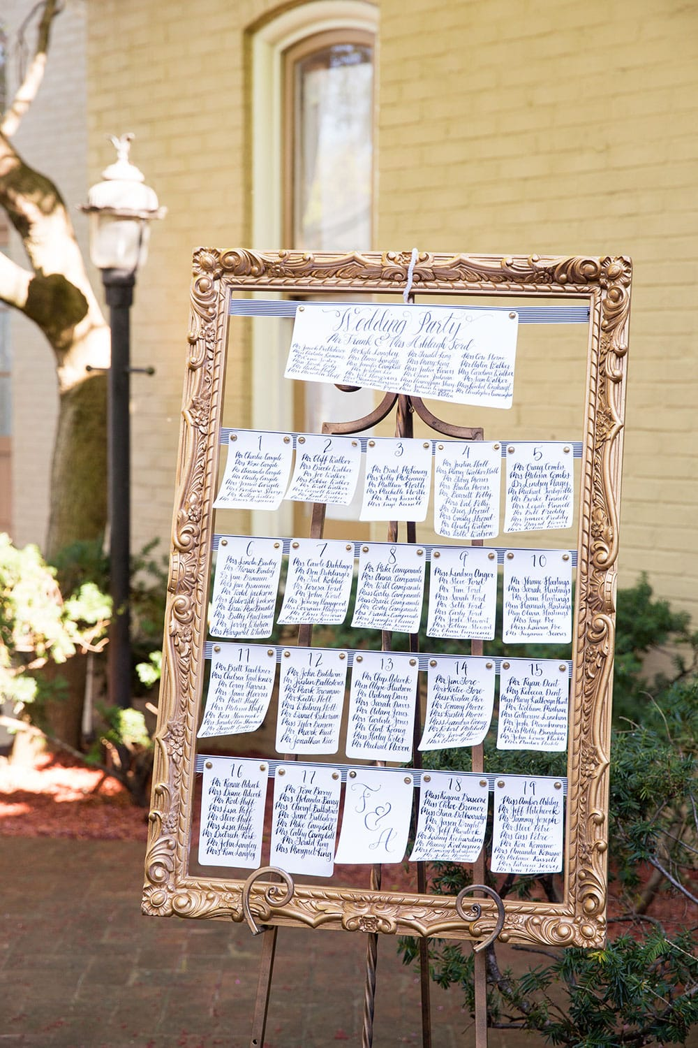 Wedding Seating Chart with Black and White Striped Details!