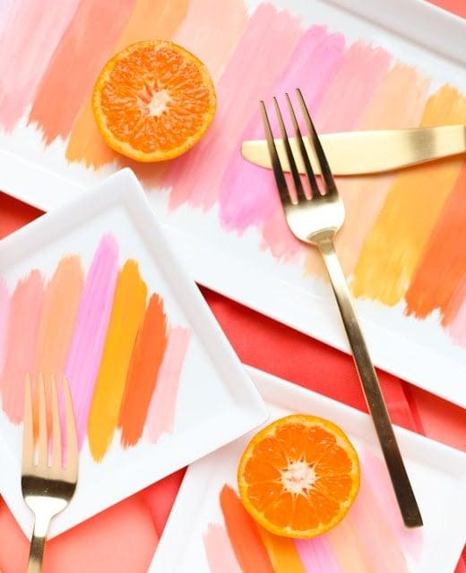 DIY Painted Brushstroke Plates