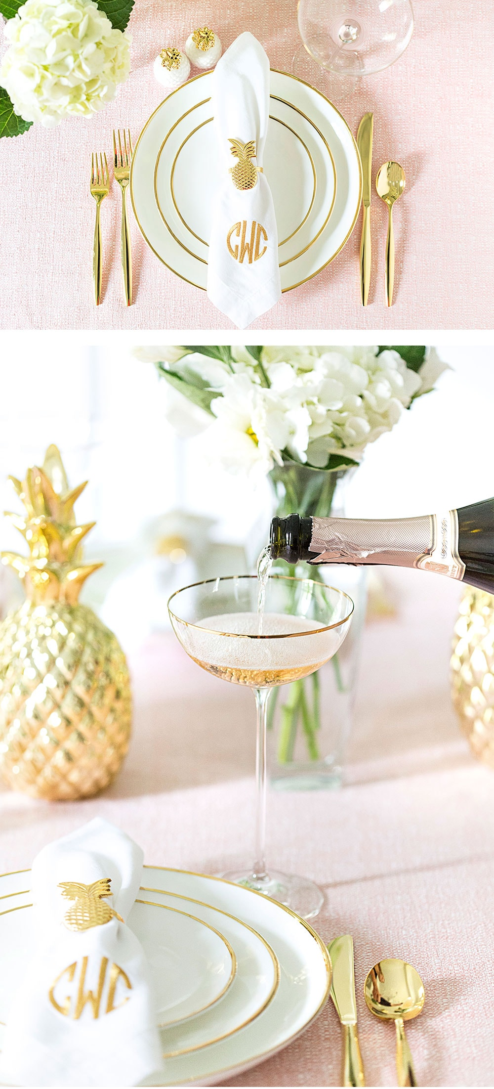 Set a pretty pink tablescape with pops of gold!