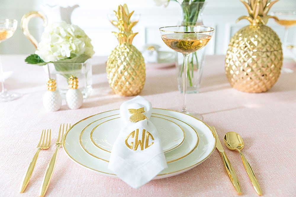 Dreamy Pink Party Tablescape with Pops of Gold!