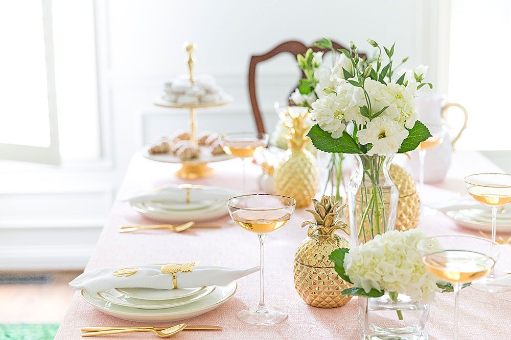 Dreamy Pink and Gold Tablescape