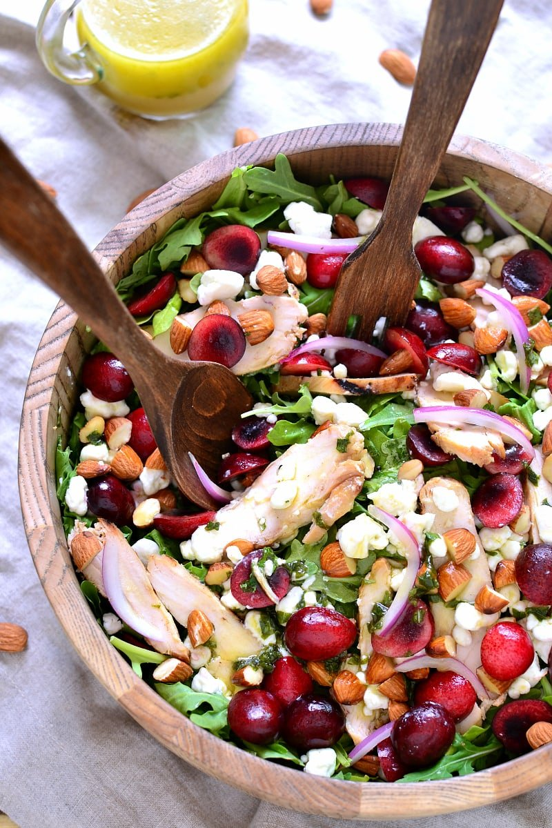 Cherry Almond Arugula Salad