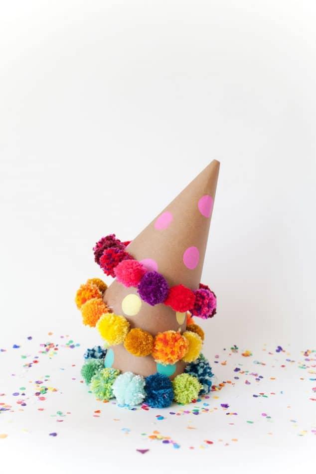 DIY Pom Pom Party Hats