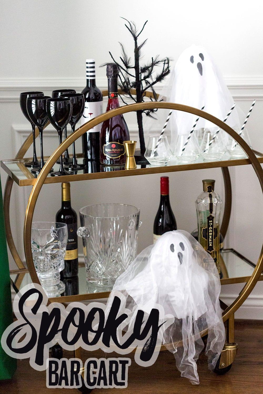 Style a spooky Halloween bar cart!