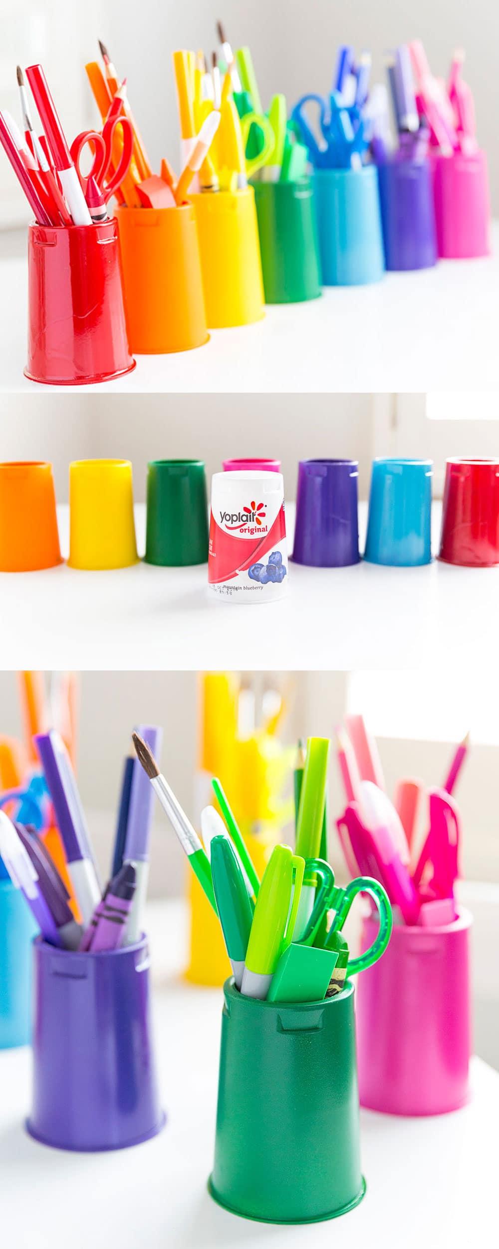 DIY Rainbow School Supply Cups using Yoplait Cups!