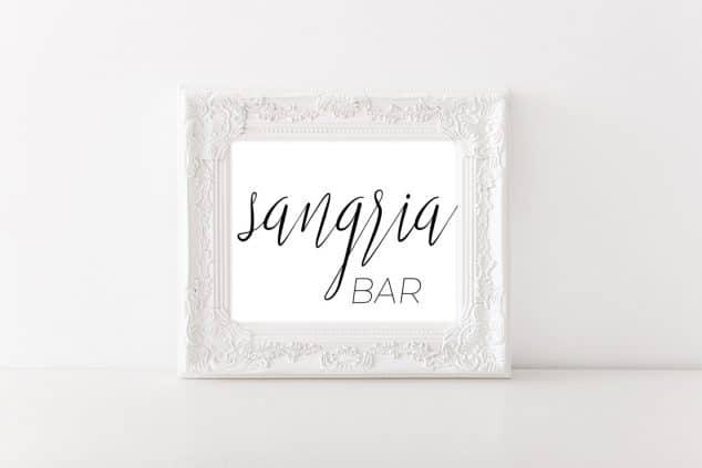 Calligraphy Sangria Bar Sign